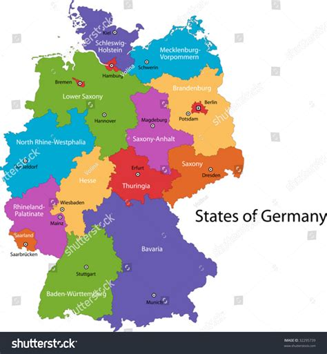 map germany regions stock vector colorful germany map with regions and