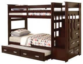 bunk bed with trundle and stairs allentown espresso wood bunk bed w storage