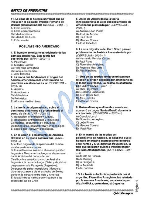 preguntas de geografia del peru banco de preguntas de historia unap actualizado 2013