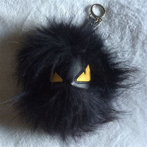 Black Furball Bag Charm 41 fendi accessories black fur keychain from