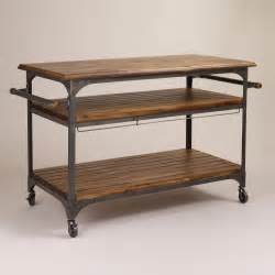 kitchen island or cart wood and metal jackson kitchen cart world market