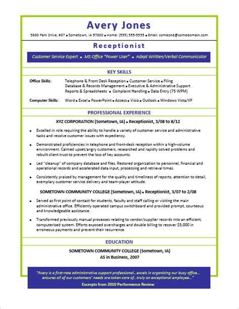 Resume Template Career Advice Receptionist Resume Sle