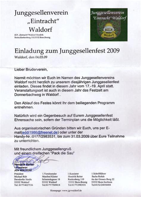 Anschreiben Weihnachtsfeier einladung waldorf 2009 anschreiben junggesellenverein