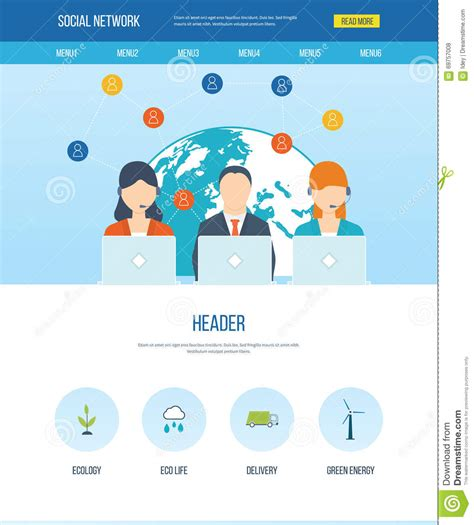 Social Network And Teamwork Concept Stock Vector Illustration Of Network Investment 69757008 Social Network Website Design Template