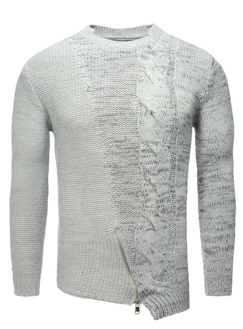 grey knitted jumper mens stylischer carisma knitted jumper grey