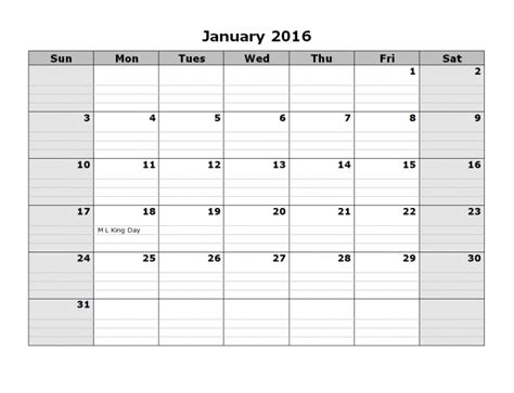 2016 monthly calendar with lines calendar printable template