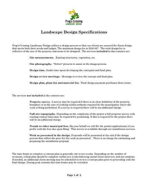 landscape contract template free printable landscape forms studio design gallery
