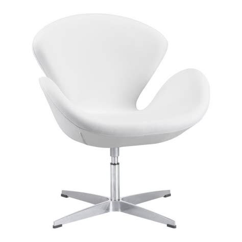 White Faux Leather Armchair by Brika Home Faux Leather Armchair In White Br 673991