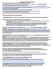 Roommate Contract Sle by Free Kentucky Sublease Roommate Agreement Form Pdf Template Roommate Agreement Template Free
