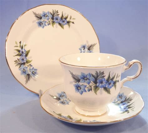 Floral Pattern Bone China Tea Cup And Saucer blue flowers vintage bone china tea cup saucer and tea plate trio pattern 8565