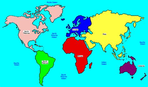 map of continents and oceans map of continents and oceans for