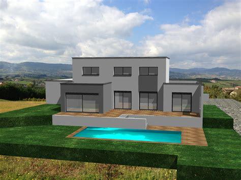 maison contemporaine avec toiture terrasse dans le rh 244 ne