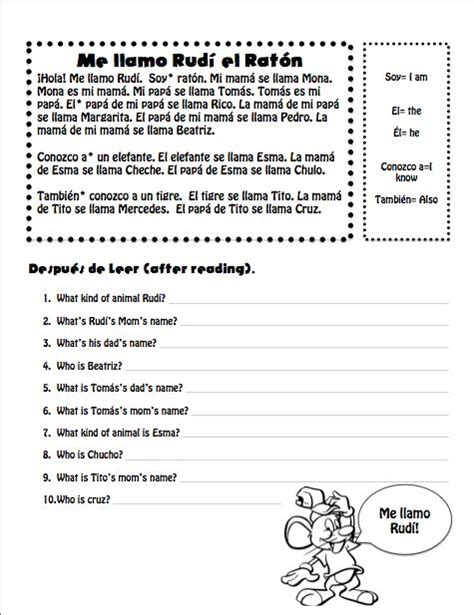 reading comprehension test in spanish 17 best images about describing others on pinterest