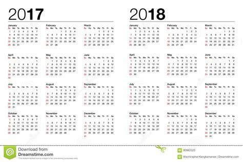 Calendario De 2017 E 2018 Calend 225 Para 2017 E 2018 Ilustra 231 227 O Do Vetor Imagem