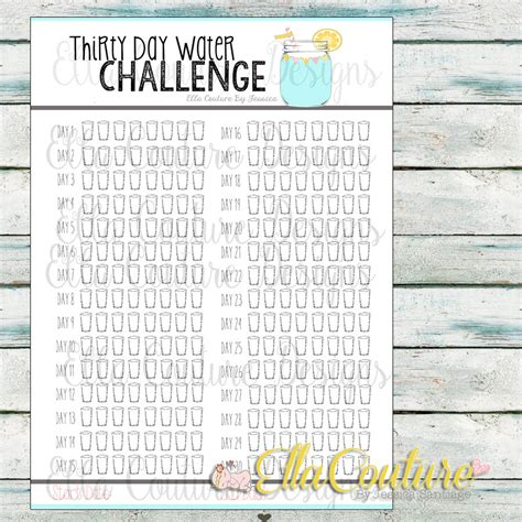 hydration challenge thirty day water challenge planner tracker instant