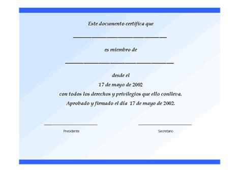 formato de un certificado modelo formato ejemplo plantilla certificado de socio