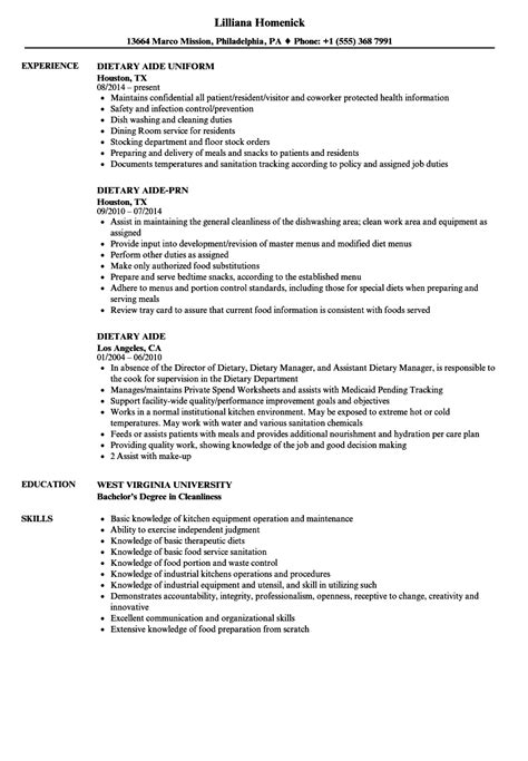 Dietary Aide Resume by Dietary Aide Resume Sles Velvet