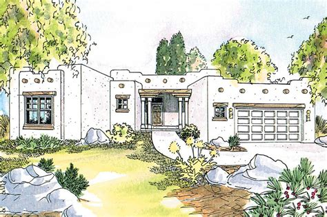 adobe southwestern style house plan 3 beds 2 baths