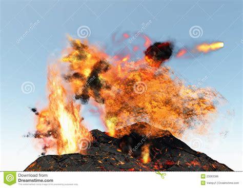 lava brand lava l de losbarstende lava van de vulkaan en wolken van brand