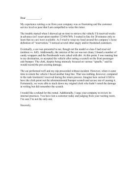 Complaint Letter Format For Car rental car complaint letter