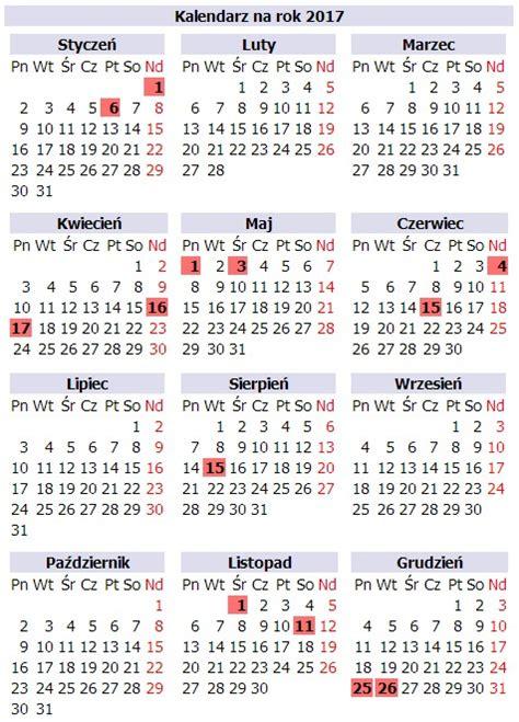 Kalendarz Z Dniami Wolnymi 2018 Kalendarz 2017