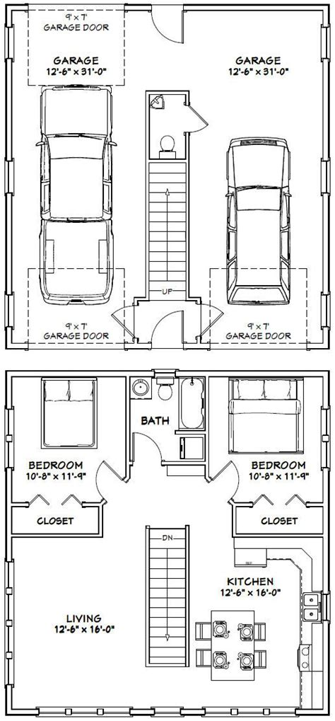 16x36 house 16x36h9i 744 sq ft excellent floor plans pdf house plans garage plans shed plans small