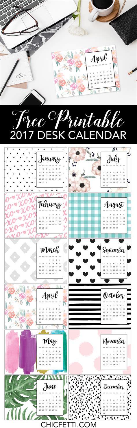 calendars free free printable calendar 2017 chicfetti blog desk