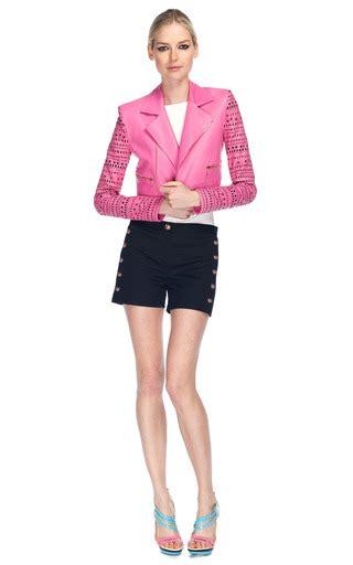 Nisa Moda Pink By U Shop pink leather jacket by versace moda operandi