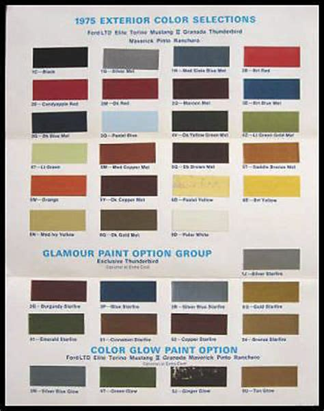 1975 ford color selection paint chip brochure mustang ebay