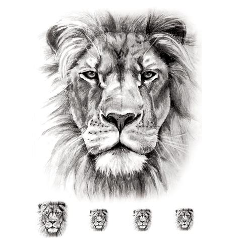 white lion tattoo temporary realistic 5 pieces artwear