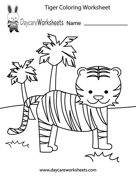 Coloring Work Sheets by Free Preschool Tiger Coloring Worksheet
