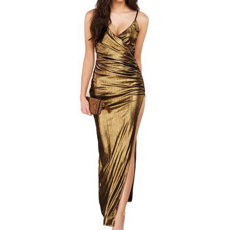Jy779163 Size S M L Formal Dress Side Splited Polos Import gold dress elegent maxi pu spaghetti wrap ruched side slit elegent evening