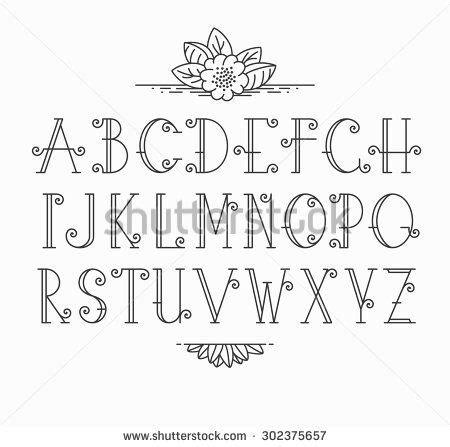 decorative block letters font vector mono line decorative font latin alphabet of
