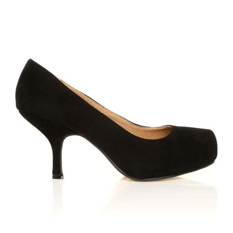 concealed low mid heel platform court shoes size 3