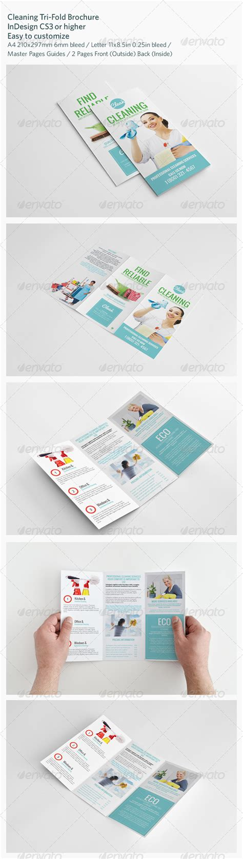 cleaning tri fold brochure graphicriver