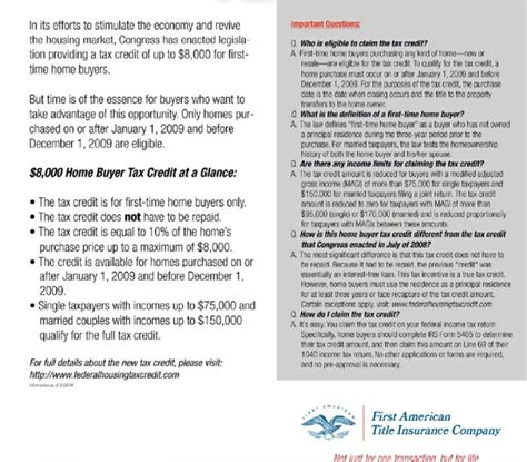 2009 time home buyer tax credit