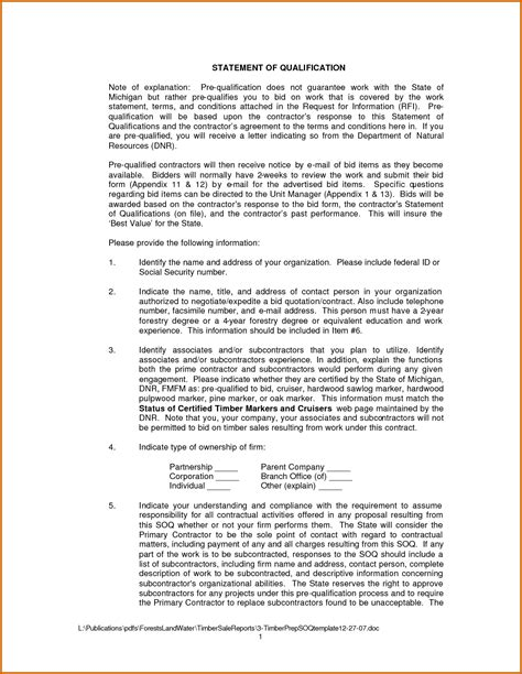 statement of qualifications template 10 statement of qualifications for business lease template