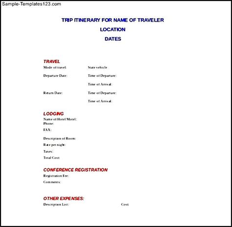 travel itinerary template docs trip itinerary doc format template sle templates