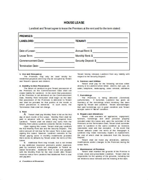 house lease template   word  documents   premium templates