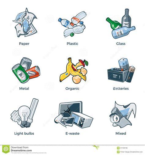 clipart rifiuti tipi isolati di categorie di riciclaggio dei rifiuti dei