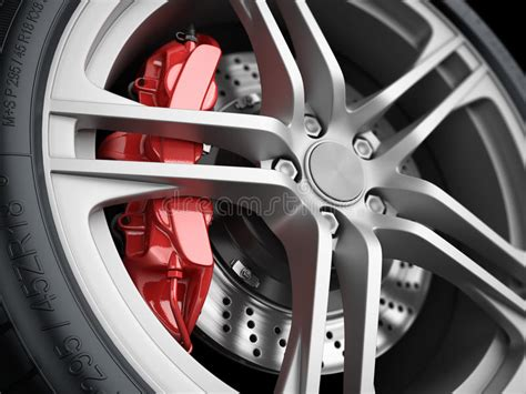 car wheel  brake system closeup stock illustration image