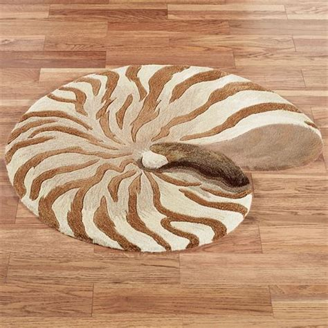 Seashell Bath Rug Chambered Nautilus Seashell Shaped Wool Rugs