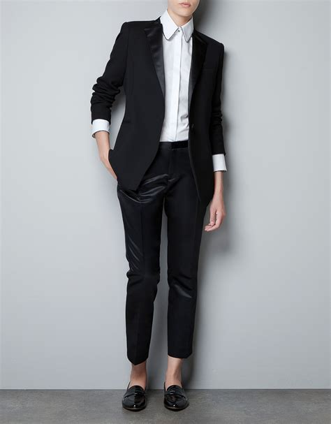 Blazer Zara zara blazer with satin lapels in black lyst