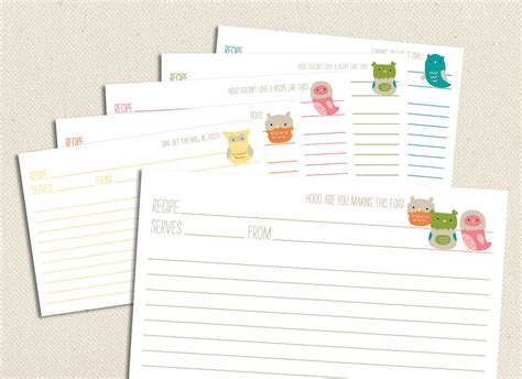 free 4x6 editable recipe card templates for microsoft word owls printable and editable 4x6 recipe cards