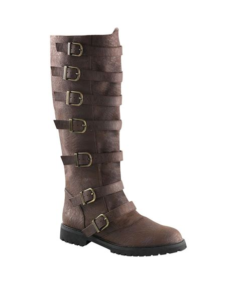 mens brown knee high boots mens multi buckle brown knee high boots