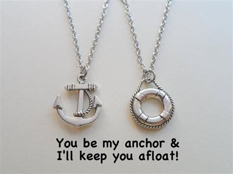 Anchor & Lifesaver Necklace Set  You Be My Anchor I'll