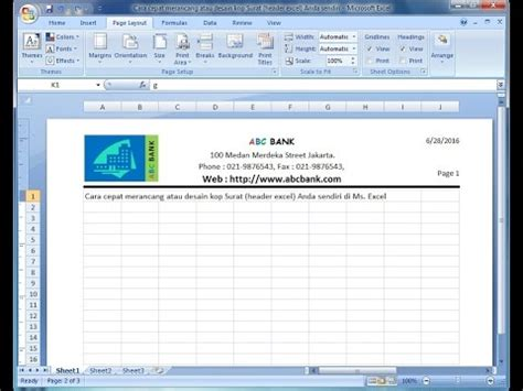 membuat kop surat di ms excel full download cara membuat header pada kolom ms office