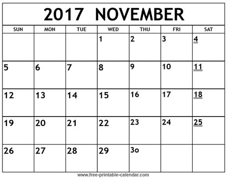 printable monthly calendar november november 2017 calendar printable templates