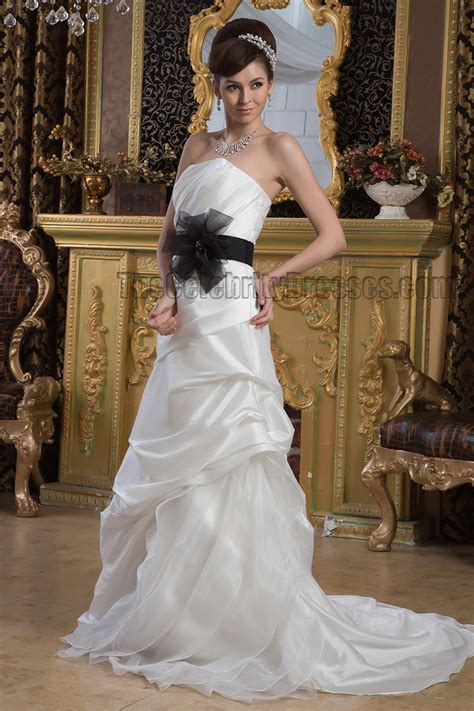 inspired strapless wedding dress with black belt