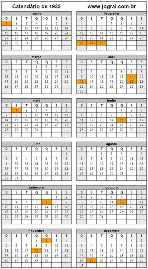 Calendario De 1932 Calend 225 Ano 1933 Para Imprimir Em Formato Pdf E Imagem